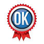 OK badge vector blue