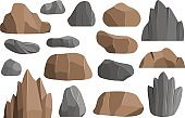 Rocks and stones vector icons