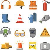 Safety work flat icons set. Vector illustration