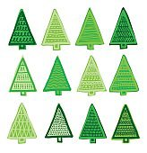 hand-drawn Christmas trees