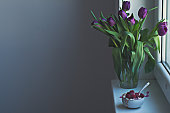 Fresh violet tulips and morning bowl - copy space available.