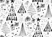 Vector seamless pattern with Christmas trees forest