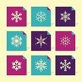 Vector Flat Icons Set - Snowflakes