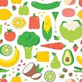 Vegetable seamless pattern garden background vector.