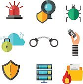 Internet safety icons isolated