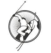 Ski resort icon badge emblem, label vector element