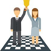 Business winners people group silhouette excited hold hands up raised