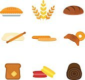 Vector fresh baked bread products icons