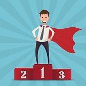 Businessman superhero standing on the winning podium - vector illustration