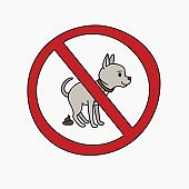 No dog pooping vector sign