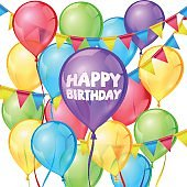 Happy birthday vector greeting card with balloons and ribbon