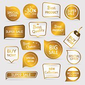 Collection of golden premium promo seals/stickers.