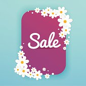 Sale Banner with flowers, Sale Poster, Sale Flyer, Sale Vector.