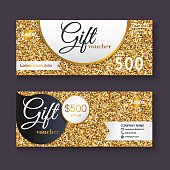 Gift voucher template with gold glitter pattern, Gift certificat