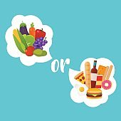 Healthy or fast food. Diet, nutrition, fitness and health concep