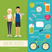 Concept of healthy lifestyle infographics. Young man and woman l