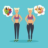 Cartoon character of fat woman and lean girl. Diet. Choice