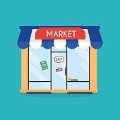 Market shop facade. Vector illustration of market building. Idea