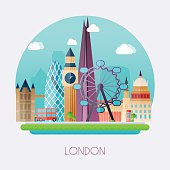 London. Skyline and vector landscape of buildings the capital of