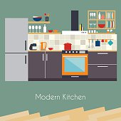 Kitchen interior. Flat design kitchen concept.  Kitchen equipmen