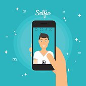 Man Taking Selfie Photo on Smart Phone. Self portrait picture