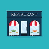 Vector illustration of restaurant building. Facade icons. Ideal