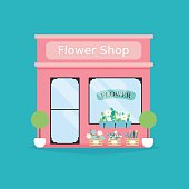 Flower shop facade. Vector illustration of flower shop building.