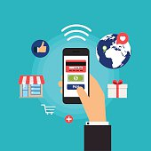 Mobile Payments. Concept online shopping and e-commerce. Icons f