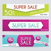 Set of sale banners design. Sale paper banner.