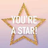 You're a star poster template. Vector realistic 3d volumetric ba