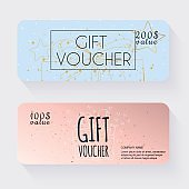 Gift voucher template with gold gift box, Gift certificate. Back