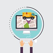 Man uses computer with app delivery tracking. Vector modern flat