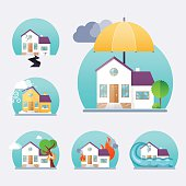 House insurance business service icons template. Property insura