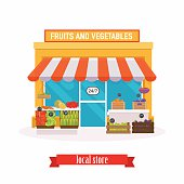 Local market Fruit and vegetables. Farmers market. Flat design m