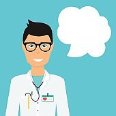 Doctor in in medical uniform and speech bubble. Flat design