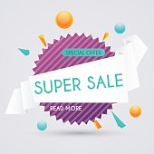 Sale paper banner. Sale and discounts. Super Sale
