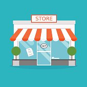 Store facade. Vector illustration of store building. Ideal for b