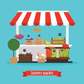 Farmers market. Local market Fruit and vegetables. Flat design m