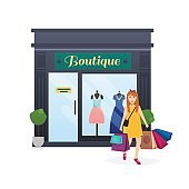 I love shopping. Woman shopping and holding bags. Fashion boutiq