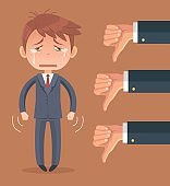 Sad businessman character and many hands