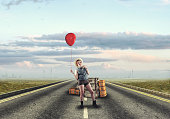 Young girl traveling