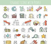 Finance and business icons set of sketch working little people