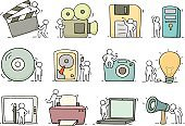 Electronic icons set of sketch working little people with comput