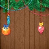 Decorated Merry Christmas Tree Branch. Happy New Year decoration frame