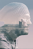 Double exposure of a man and city