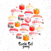 Illustration with watercolor food. Sushi and roll sketch set.
