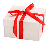 white gift box with a red  ribbon clipping path