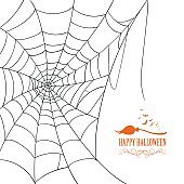 Vector Happy Halloween Design with a Spiderweb