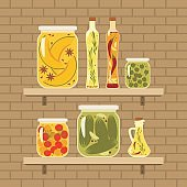 Pickled vegetables and infused oils on a shelf