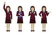 School girl in uniform flat vector
